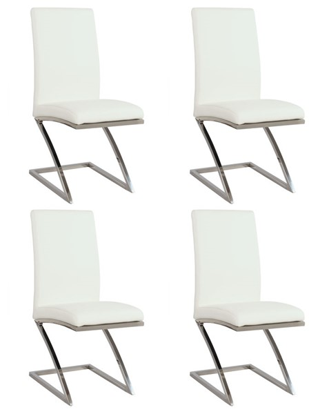 4 Chintaly Imports Jade White Z Frame Side Chairs CHF-JADE-SC