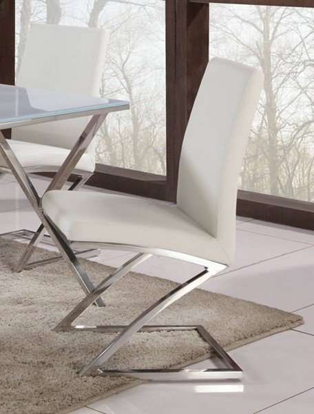 4 Jade Contemporary White PU Stainless Steel Z - Frame Side Chairs CHF-JADE-SC