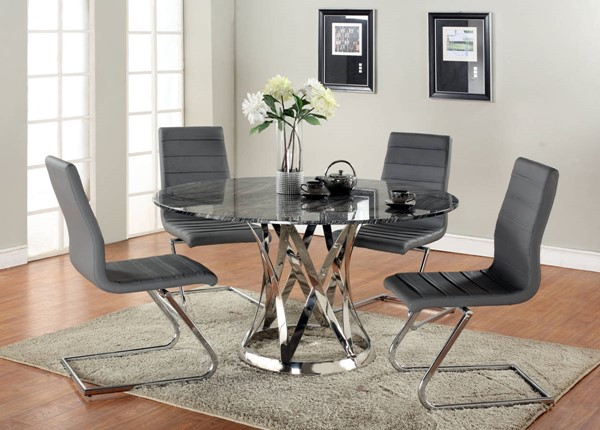 Janet Marble Stainless Steel 5pc Dining Room Set w/Marble Top CHF-JANET-DTS