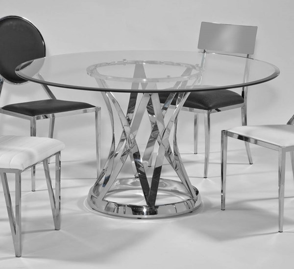 Janet Glass Steel 54 Inch Round 12mm - 1 Inch Bevel Dining Table CHF-JANET-DT-GL54-TB