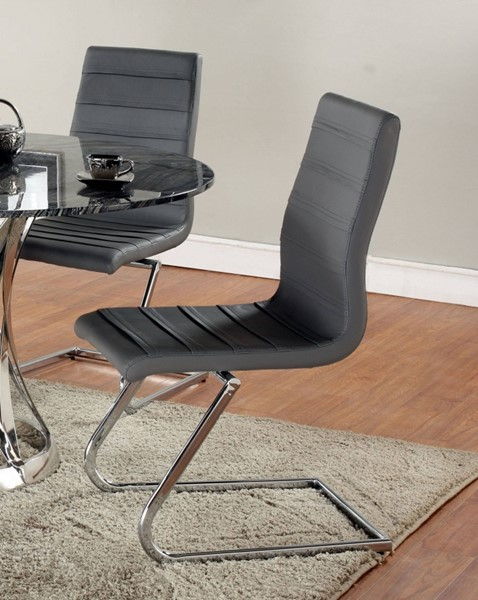 2 Janet Grey PU High Back Brewer Style Side Chairs CHF-JANET-SC