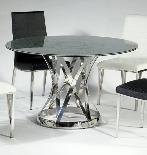 Janet Glass Stainless Steel Dining Table W/48 Inch Sandwich Glass Top CHF-JANET-DT-SW48-TB