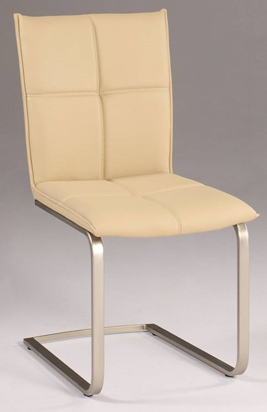2 Jessica Khaki PU Cantilever Upholstered Side Chairs CHF-JESSICA-SC