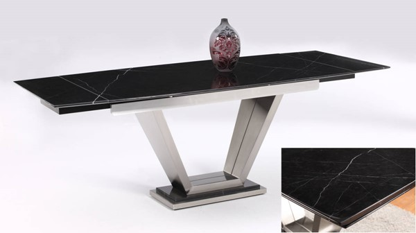 Jessy Black Solid Marble Dining Table Top CHF-JESSY-DT-T