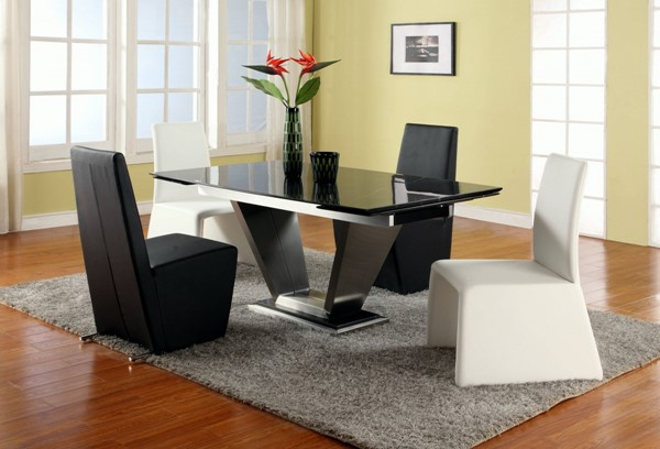 Jessy Black Marble Stainless Steel 5pc Dining Room Set CHF-JESSY-DTS
