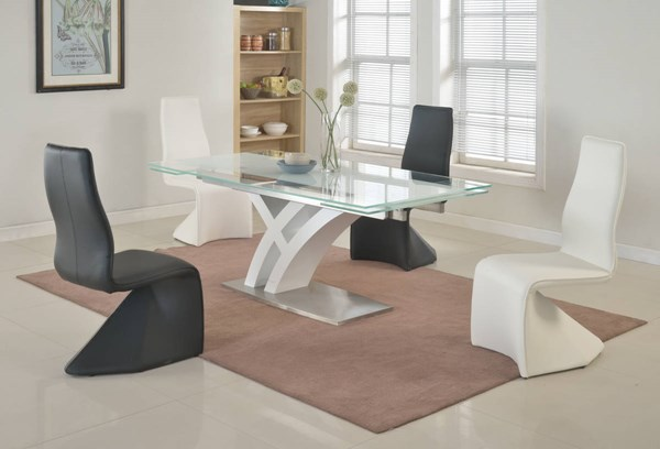 Jillian Joann Black White Metal Glass PU Dining Room Set CHF-JILLIAN-DR