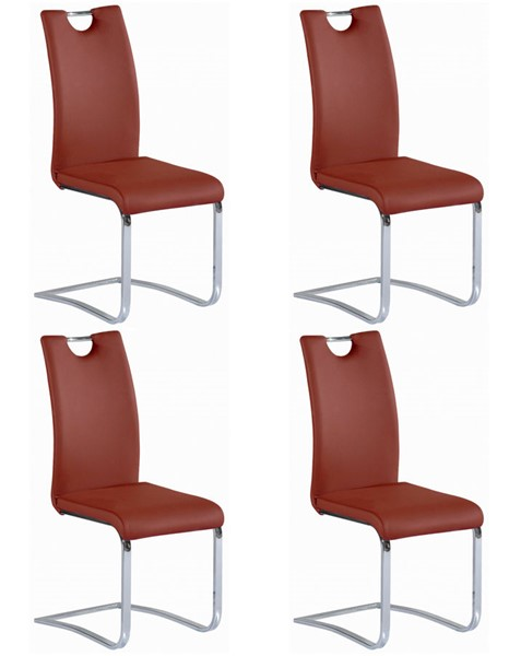 4 Chintaly Imports Josephine Chrome Red Cantilever Side Chairs CHF-JOSEPHINE-SC-RED