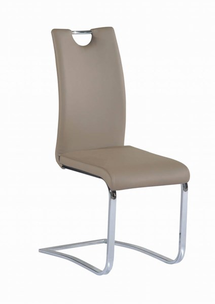 4 Josephine Taupe PU Cantilever Upholstered Handle Back Side Chairs CHF-JOSEPHINE-SC-TPE