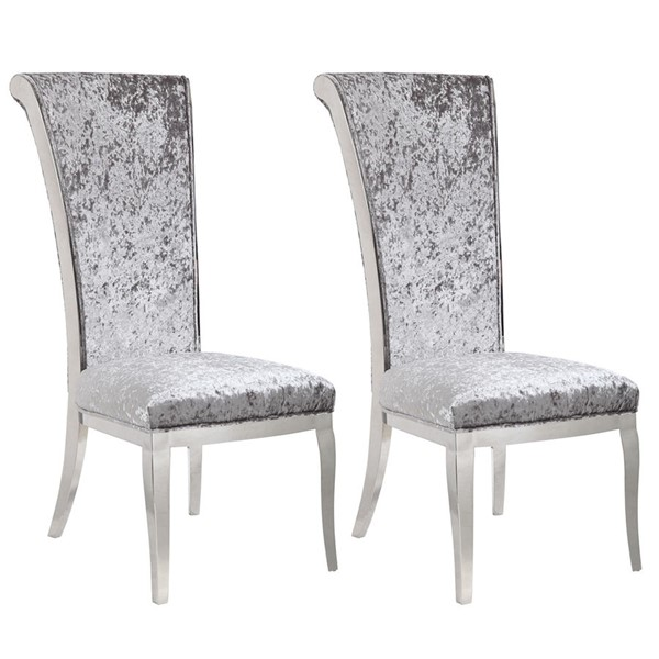 2 Chintaly Imports Joy Polished Gray Side Chairs CHF-JOY-SC-GRY