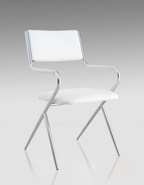 Joyce White PU Chrome Director Side Chair CHF-JOYCE-SC-WHT-CHR