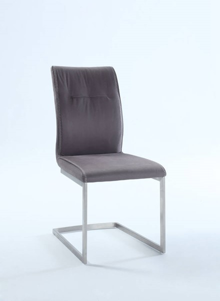 2 Kalinda Brushed Stainless Steel Fabric Grey Cantilever Side Chairs CHF-KALINDA-SC-GRY