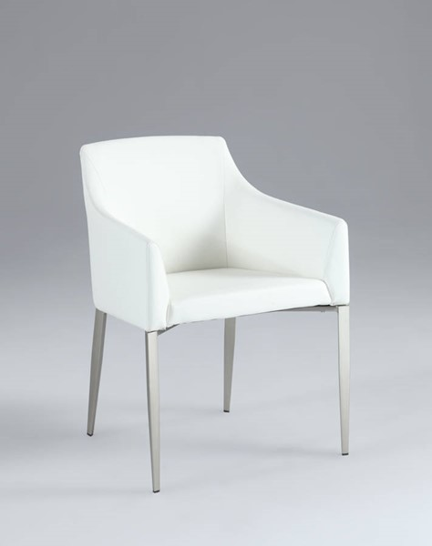 Katie White PU Track Arms & Solid Back Accent Side Chair CHF-KATIE-AC-WHT