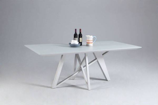 Katie Modern White Glass Metal Dining Table CHF-KATIE-DT-TB