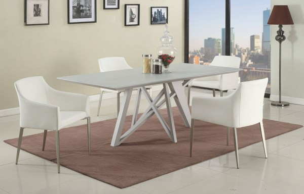 Katie Glass Metal Fabric 5pc Dining Room Set w/White Chair CHF-KATIE-DR-S1