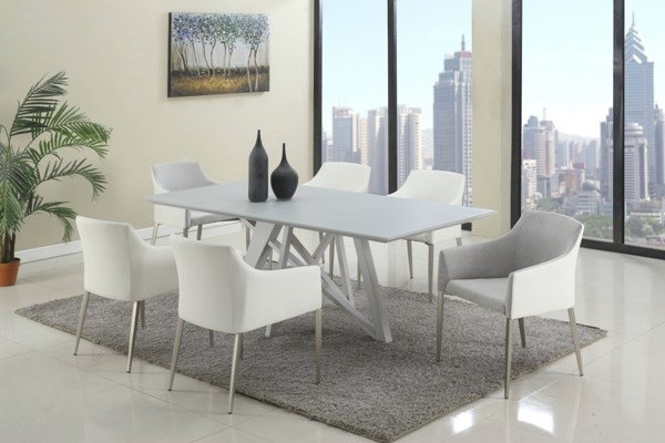 Katie Glass Metal Fabric 7pc Dining Room Set w/White and Gray Chair CHF-KATIE-DR-S2