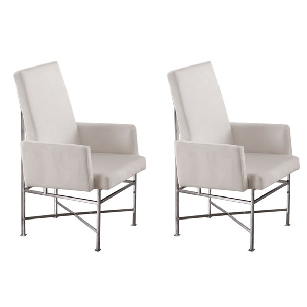 2 Chintaly Imports Kendall Cream Fabric Arm Chairs CHF-KENDALL-AC-CRM