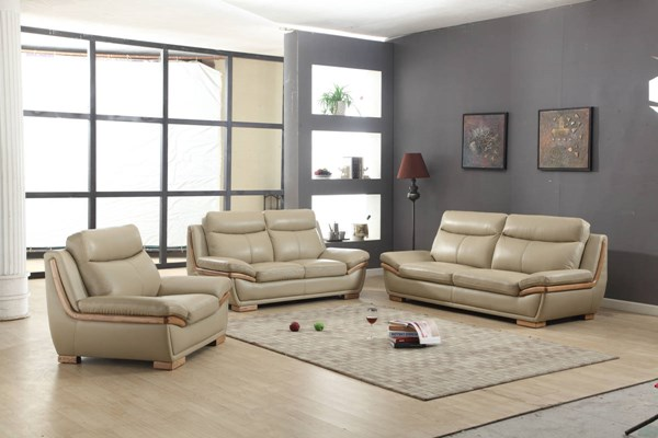 Kingston Taupe Half Leather 3pc Living Room Set | The Classy Home