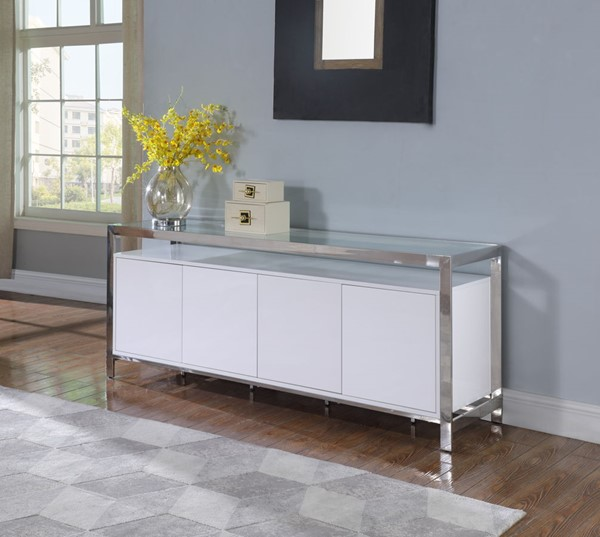 Chintaly Imports Krista Clear Gloss White Polished Stainless Steel Buffet CHF-KRISTA-BUF