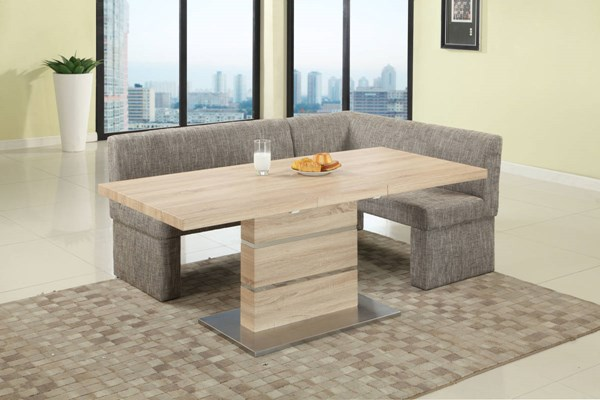 Labrenda Light Oak Brown Stainless Steel PU Fabric Dining Room Set CHF-LABRENDA-DR