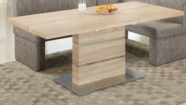 Labrenda Light Oak Stainless Steel Dining Table CHF-LABRENDA-DT-TMB