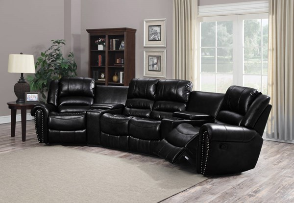 Laredo Modern Full Bonded Leather Black Reclining Sectional CHF-LAREDO-SEC