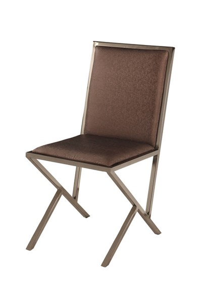 4 Lauren Modern Brown PU Nickel Side Chairs CHF-LAUREN-SC-BRW