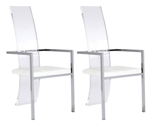 2 Chintaly Imports Layla White PU High Back Arm Chairs CHF-LAYLA-AC-WHT