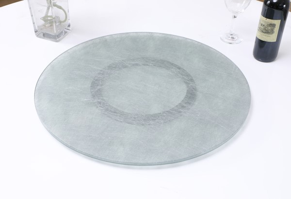 Chintaly Imports Lazy Susan Clear Silkscreen Design 24 Inch Glass CHF-LAZY-SUSAN-24-SLK