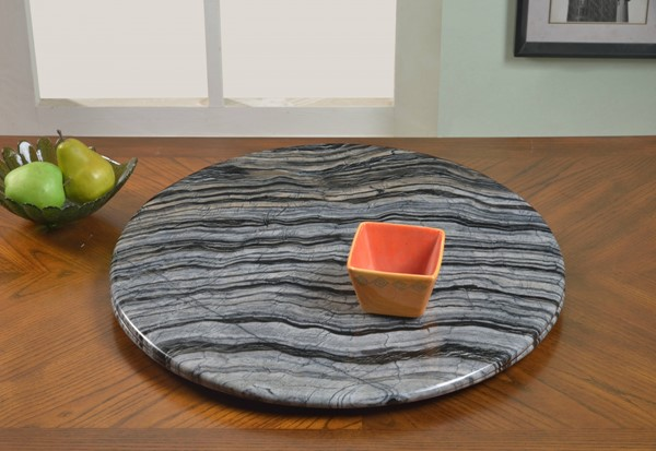 24 Inch Lazy Susan Round Ancient Gray Marble 360 Rotatable Tray CHF-LAZY-SUSAN-24MBL-GRY