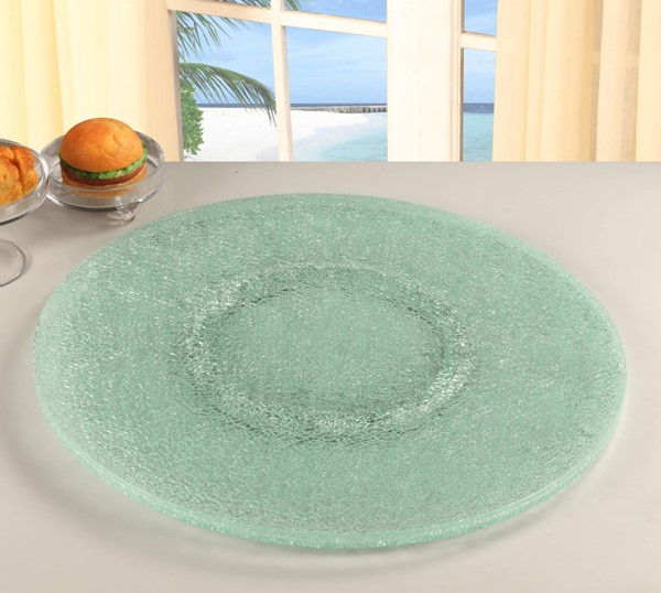 Chintaly Imports Lazy Susan Sandwich Glass 24 Inch Tray CHF-LAZY-SUSAN-24S