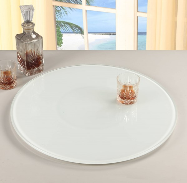 24 Inch Lazy Susan Round White Glass 360 Rotatable Trays CHF-LAZY-SUSAN-24-WHT