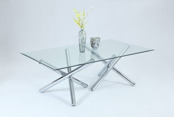 Leatrice Chrome Rectangle Glass Jax Style Dining Table w/44 x 84 Top CHF-LEATRICE-RC4484-DT