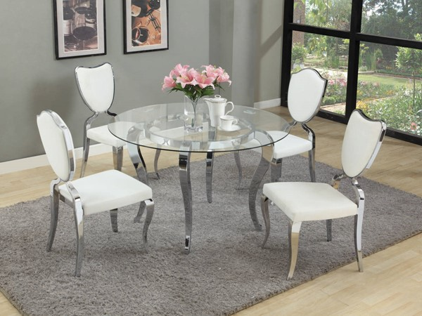 Letty White Chrome PU 5pc Dining Room Set W/Shield & Heart Chairs CHF-LETTY-DR-S3