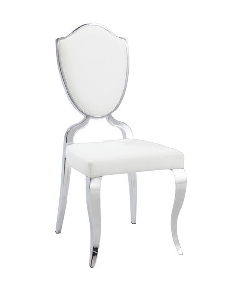 2 Letty Traditional White PU Shield Back Cabriole Designed Legs Chairs CHF-LETTY-SC-WHT