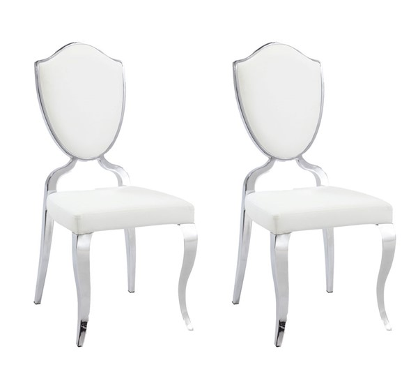 2 Chintaly Imports Letty White Cabriole Legs Side Chairs CHF-LETTY-SC-WHT