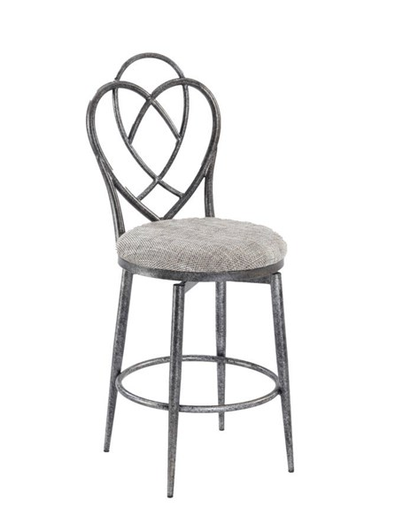 Lexie Traditional Brushed Pewter Designed Back Memory Swivel Bar Stool CHF-LEXIE-BS
