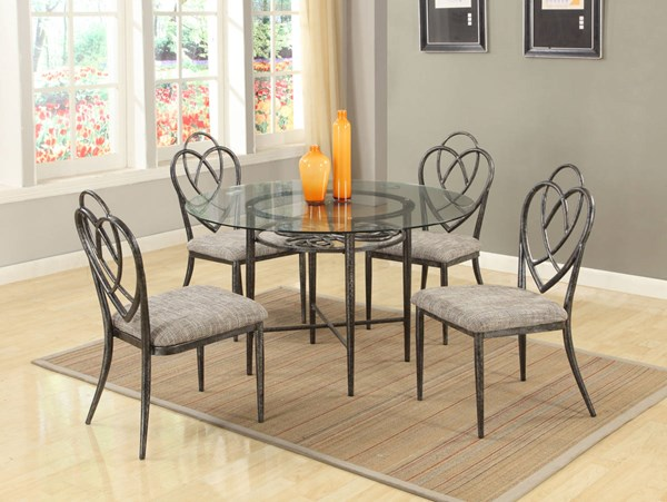 Lexie Traditional Brushed Pewter Glass Metal 5pc Dining Room Set CHF-LEXIE-DR-S1