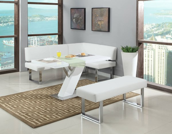 Linden White PU White 3pc Dining Room Set CHF-LINDEN-DR-S1