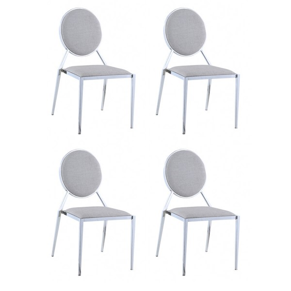 4 Chintaly Imports Lisa Chrome Gray Side Chairs CHF-LISA-SC-508