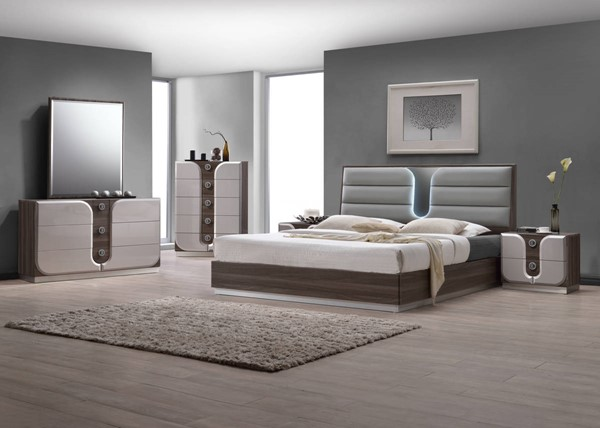 London Modern Wood PU 2pc Bedroom Set W/King Bed CHF-LONDON-BR-S1