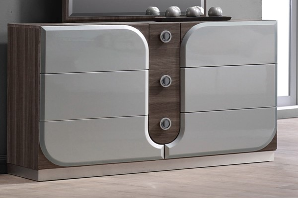 Chintaly Imports London Grain Silver 6 Drawers Dresser CHF-LONDON-DRS