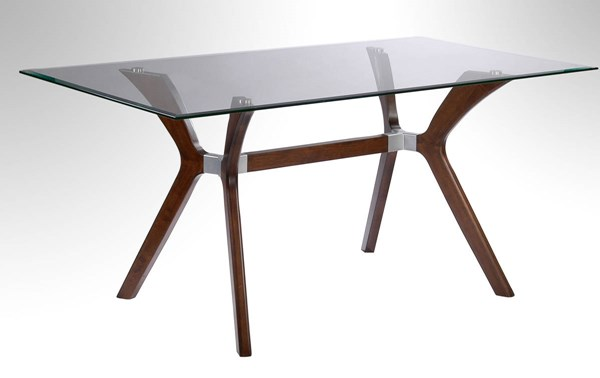 Luisa Dark Walnut Glass Rectangulear Dining Table CHF-LUISA-DT-RCT-TMB