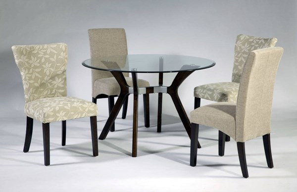 Luisa Beige Satin Espresso Glass Fabric 5pc Dining Room Set CHF-LUISA-DT-S2
