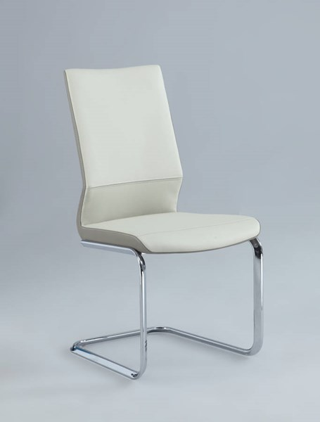 2 Lydia Cream PU Two Tones Cantilever Side Chairs CHF-LYDIA-SC-CRM