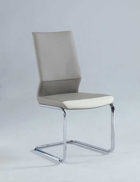 2 Lydia Taupe PU Two Tones Cantilever Side Chairs CHF-LYDIA-SC-TPE
