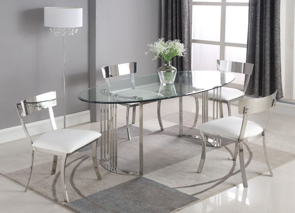 Chintaly Imports Maiden Clear Polished White 5pc Dining Room Set CHF-MAIDEN-5PC