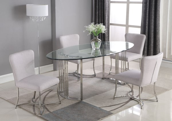 Chintaly Imports Maiden Clear Polished Gray 5pc Dining Room Set CHF-MAIDEN-AUTUMN-5PC