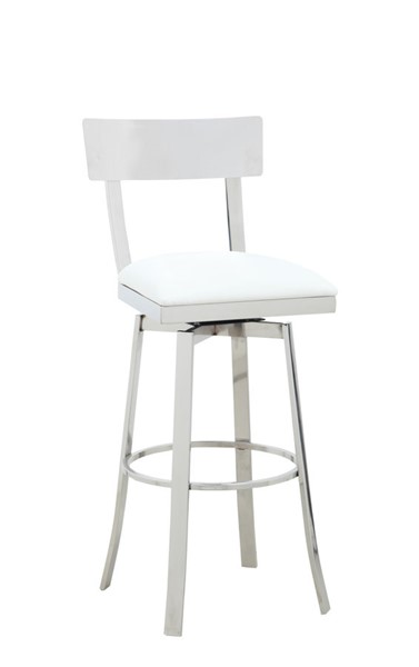 Chintaly Imports Maiden Polished White Bar Stool CHF-MAIDEN-BS-WHT