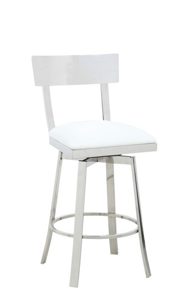 Chintaly Imports Maiden Polished White Counter Height Stool CHF-MAIDEN-CS-WHT
