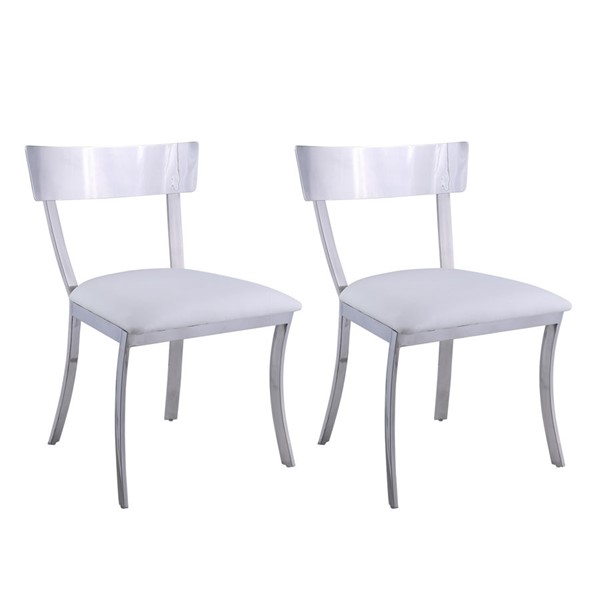 2 Chintaly Imports Maiden Polished White Side Chairs CHF-MAIDEN-SC-WHT
